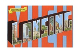 Greetings from Lansing, Michigan Giclee Print