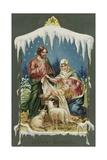 Merry Christmas Postcard with Nativity Scene Reproduction procédé giclée