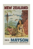Matson Lines Travel Poster, New Zealand Giclee Print