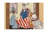 Illustration of Betsy Ross Making the First American Flag Giclee Print