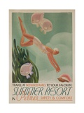 Summer Resort Travel Poster Reproduction procédé giclée