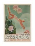 Summer Resort Travel Poster Giclée-tryk