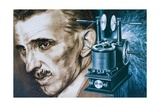 Nikola Tesla with an Early Tesla Coil Giclee Print