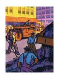 Oil Series: Workers Resurfacing a City Street Giclee Print