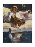 Huckelberry Finn Fishing Giclee Print