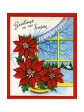 Vintage Illustration of Christmas Poinsettia Giclee Print