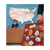 Frequent Business Traveller Checking-In at the Airport Giclee Print