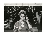 Woman Office Worker on the Phone Distracted by Noise Giclee Print
