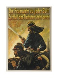 German Firefighter Poster Giclee Print