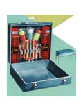Vintage Illustration of a 1950s Travelling Picnic Case Giclee Print