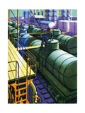 Oil Series: Oil Being Loaded into Tank Cars at a Rail Yard Giclee Print