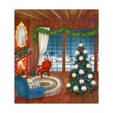 Vintage Illustration of Christmas Tree by Fireplace Giclee Print