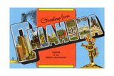 Greetings from Oklahoma, Center of the Great Southwest Giclee Print