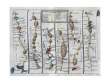 Old Map of the Road from Dartmouth to Minhead in Somerset-Shire Giclee Print