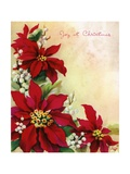 Vintage Illustration of Christmas Poinsettia and Mistletoe Giclee Print