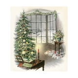 Vintage Illustration of Christmas Tree by a Window Impression giclée