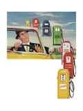 Vintage Illustration of Driver Surrounded by Gas Pumps Giclee Print