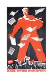 Giant Soviet Workder Distributing Communist Newspapers Giclee Print