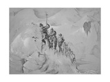 Illustration Depicting Expedition Members Ascending Mont Blanc Giclee Print