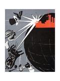 Russian Communist Poster Showing the Battleship Aurora Giclee Print