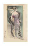 Woman Modeling Pink Evening Gown, Fur Stole and Feathered Headdress Giclee Print
