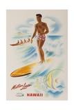 Matson Lines Travel Poster Hawaii Surfer Impression giclée