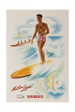 Matson Lines Travel Poster Hawaii Surfer
