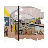 Vintage Illustration of an Early Shopping Mall Giclee Print