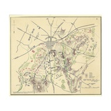 Map of Gettysburg with Troop Positions Giclee Print