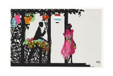 Postcard of a Man and a Woman in an Arbor with Paper Lanterns Giclee Print