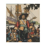 Robert De Lasalle with Ships Near Mississippi River Giclee Print