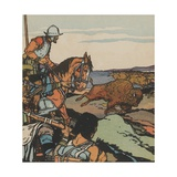 Francisco Vásquez De Coronado Looking at Buffalo Herd Giclee Print