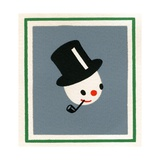 Vintage Illustration of Christmas Snowman Giclee Print