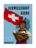 Schweizerhof Berne, Switzerland Luggage Label Giclee Print