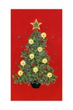 Vintage Illustration of Christmas Tree Stampa giclée