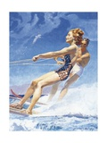 Man and Woman Watersking Giclee Print