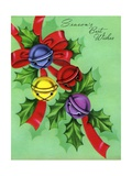 Vintage Illustration of Jingle Bells and Holly Giclee Print
