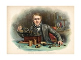 Thomas Edison Building a Phonograph Giclee Print