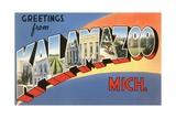 Greetings from Kalamazoo, Michigan Giclee Print