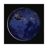 Nighttime Satellite Composite View of Europe, Africa and the Middle East Giclee Print