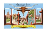 Greetings from Texas, the Lone Star State Giclee Print
