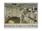 Storing Ice Cream in Cold Room Poster Giclee Print