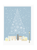 The Snowflake Tree and Town Giclee Print