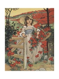 Girl Carrying Basket with Red Flowers Giclee Print