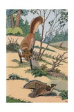 Illustration of a Fox Hunting an Injured Partridge Giclee Print