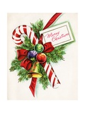 Vintage Illustration of Christmas Candy Cane Giclee Print