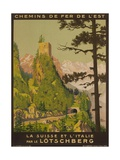 French Railway Travel Poster, Chemin De Fer De L'Est, Switzerland and Italy Giclee Print