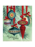 Vintage Illustration of Five Christmas Tree Ornaments Stampa giclée