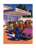 Oil Series: Full-Service Gas Station Giclee Print