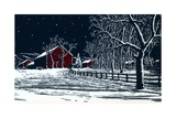 Red Barn in a Snowy Night Landscape Giclee Print